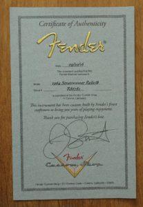 Certifikat JS MB 1963 Fender